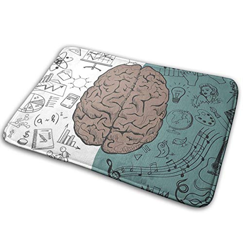 Modern Decor Brain Image With Left And Right Side Music Logic Art Side Science Print White Teal Umber Carpet 15.7' X 23.5' Non-Slip Stain Fade Resistant Door Outdoor Indoor Mat Room Bathroom Rug