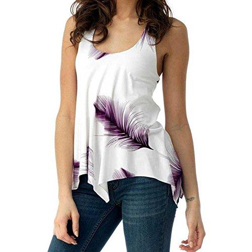 Women Blouse Plus Size Shirt Print Sleeveless Bandage Tank Vest Pullover Tops Purple
