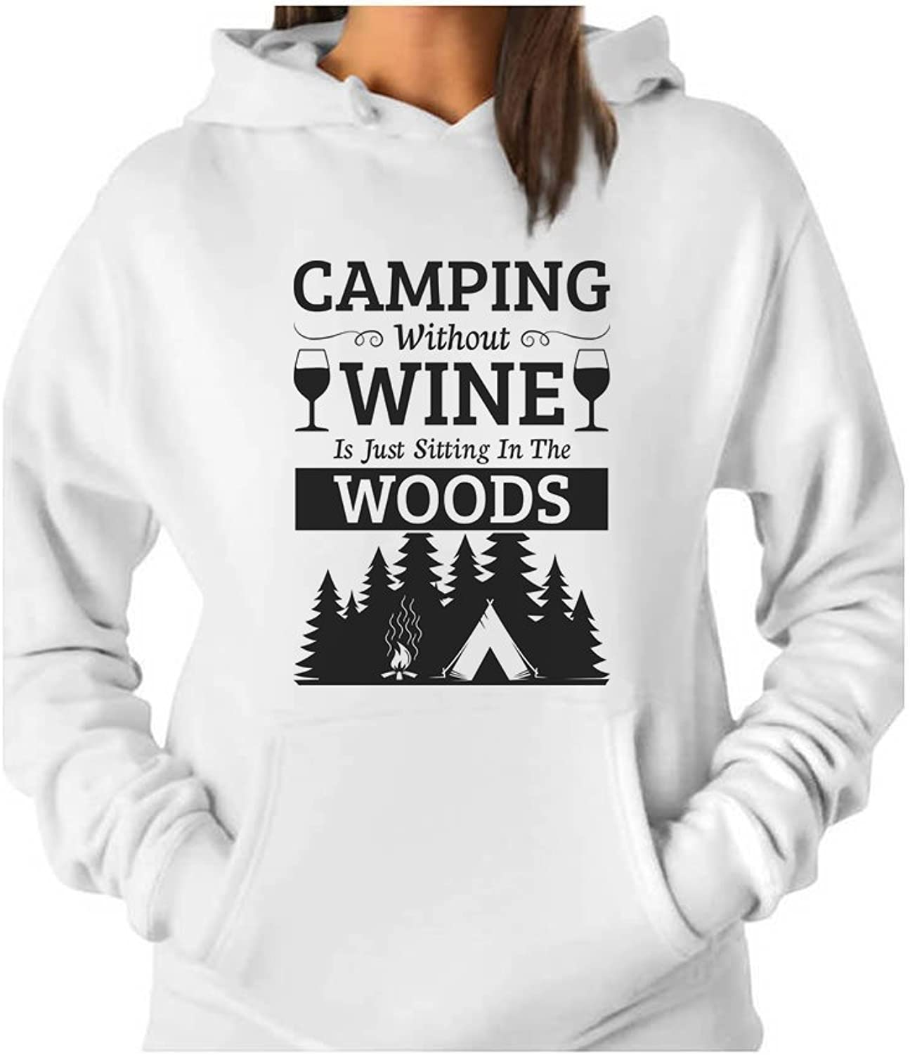 Tstars  Camping Wine Sitting in The Woods Funny Camper Gift Women Hoodie