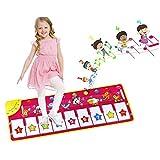 EXTSUD Piano Mat Tanzmatten Musikmatte Pianomatte Kinder 8 Tierstimmen Klaviertastatur Spielzeug Musik Matte, Keyboard Matten Spielteppich Baby Tanzmatte für Jungen Mädchen Kinder 100*36 cm, Rosa