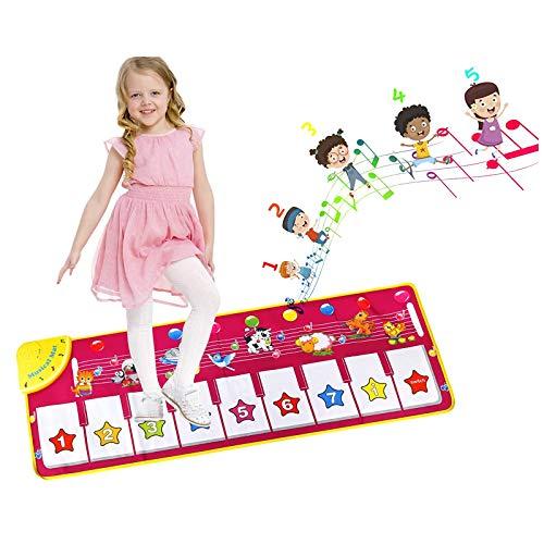 EXTSUD Piano Mat Tanzmatten Musikmatte Klaviermatte Kinder 8 Tierstimmen Klaviertastatur Spielzeug Musik Matte, Keyboard Matten Spielteppich Baby Tanzmatte für Jungen Mädchen Kinder 100*36 cm, Rosa