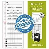 Lathem Universal Payroll/Job Time Cards, Double-Sided, For Lathem 7000E / 7500E Time Clocks, 100 Pack, E79-100, White