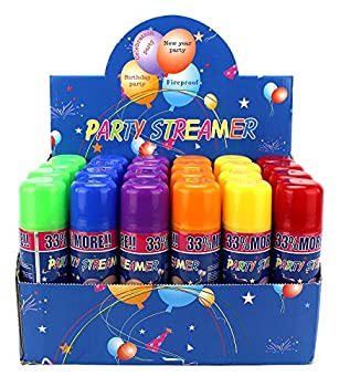 24 Pack of Party Streamer Spray String in a Can Children s Kid s Party Supplies Perfect for Parties/Events