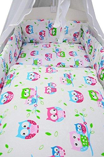 Best For Kids Komplettset Babybett Patrick 70x140 cm mit Matratze 10 cm und Bettwäsche inkl. Decke und Kissen - 6 Design (Eulen weiß-rosa)