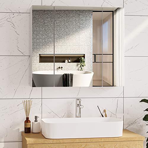 Spiegelschrank Bad 70 x 15 x 60 cm Badezimmer spiegelschrank mit höhenverstellbarer ablage,Hängeschrank, badspiegel,badschrank mit Spiegel und 3 Türen Weiß