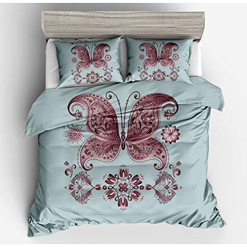 CBA BING Butterfly Pattern Double 3D Printed Quilt Duvet Cover for Adults, for Girls Ultra Soft Microfiber,3 Pieces,Gray,200×200cm