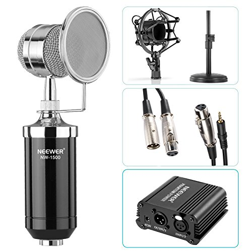 """Neewer NW-1500 Microphone Kit: (1) Microphone with Iron Desk Stand, Shock Mount and Pop Filter+(1)48V Phantom Power Supply with Adapter+(1) Audio Input Cable+(1) Mic Cable 1/4"""" Male to XLR Female"""