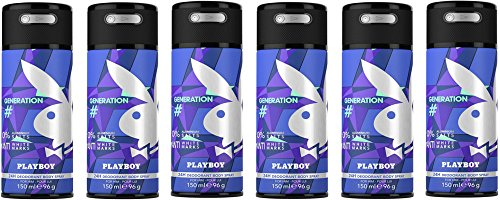 Playboy Generation Men Deo Body Spray, 6er Pack (6x150ml)