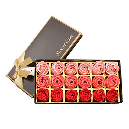 18 stks Plant Essentiële Olie Rose Zeep Bloemen Geurende Bad Zeep Rose Bloem Bloemblaadjes, Beste Geschenken Ideeën voor Vrouwen, Vrouw, Tieners Meisjes, Moeder Verjaardag Powder color