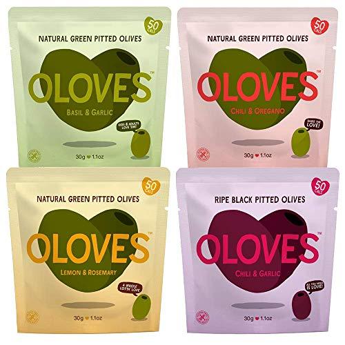 OLOVES Natural Whole Pitted Olives | 12 Pack Variety | Basil & Garlic, Chili & Oregano, Lemon & Rosemary, Chili & Garlic | Vegan, Kosher, Gluten Free + Keto Friendly Healthy Snacks