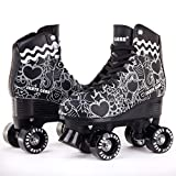 Skate Gear Cute Graphic Quad Roller Skates for Kids and Adults (Graphic Black, Women's 6 / Youth 5 / Men's 5)