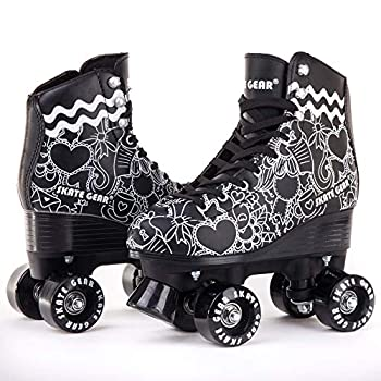 Skate Gear Cute Graphic Quad Roller Skates for Kids and Adults  Graphic Black Women s 7 / Youth 6 / Men s 6