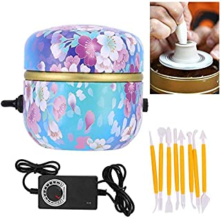 Australove Mini Pottery Wheel Machine Fingertip Drawing Machine 1500RPM Electric Turntable DIY Clay Tool with Tray for Adu...