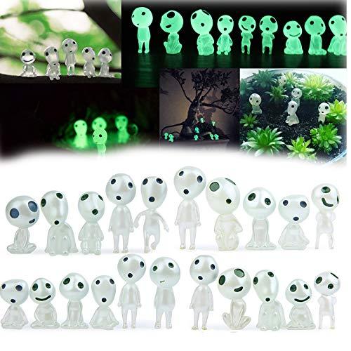 20 Stück / Set Mononoke Leuchtende Baumelfen Puppen, Kodama Figuren Leuchten im Dunkeln, Harz Garten Gnom Statue Garten Mikro Landschaft Puppe Zubehör(20pcs/Set)