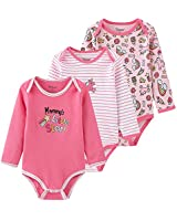 Chamie Newborn Baby Onesies 3-Pack Long Sleeve Bodysuit Soft Cotton Cute Design Baby Clothes for Boys and Girls