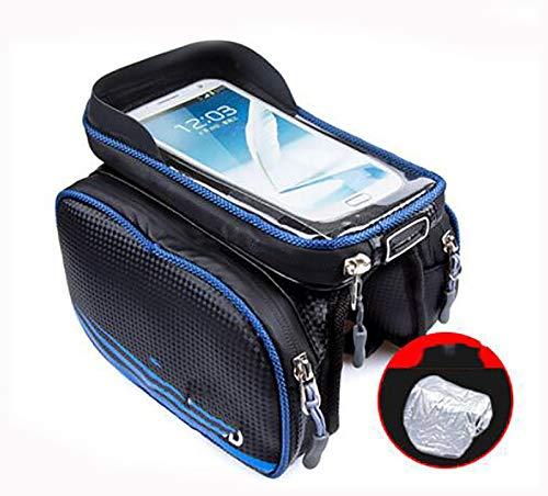 Bolsa Bicicleta Impermeable Bolsa Movil Bici con Ventana para Pantalla Táctil,Bolsa para Cuadro Bicicleta Montaña para Smartphones de hasta 6,5'Bolsa de bicicleta-Azul estilo pu impermeable 19x12x10cm