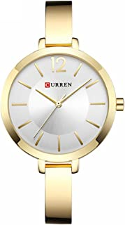 Curren 9012 Quartz Movement Round Dial Stainless Steel Strap Waterproof Women Wristwatch -Rose Gold