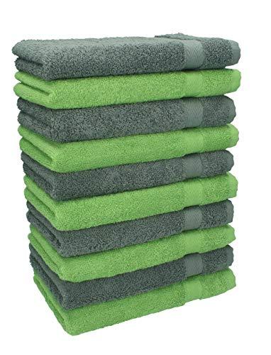 Betz Lot de 10 Serviettes débarbouillettes lavettes Taille 30x30 cm en 100% Coton Premium Couleur Vert Pomme et Gris Anthracite