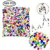 Liuer 2400 Pompones de Pompón Esponjosos, Pompones de Variados Colores Manualidades 9 mm de diámetro para álbumes de Recortes Costura Materiales de Gustos y DIY Decoraciones de Artesanía Creativa