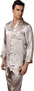HQ-PjS Bathrobe New Pajamas Men's Sleepwear Set 100% Silk Nightwear Home Wear Comfortable Two-Piece Loungewear (Color : Si...