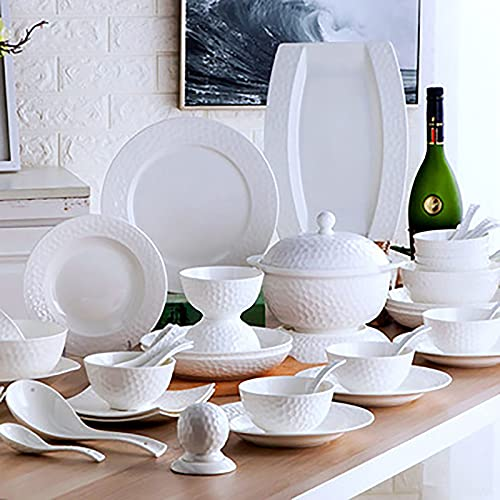 Juego de vajilla de porcelana blanca de 56 piezas, juego de vajilla de cocina con cuencos de cereales, cuencos de ensalada, platos y olla de sopa para 12 personas, apto para lavavajillas y microondas