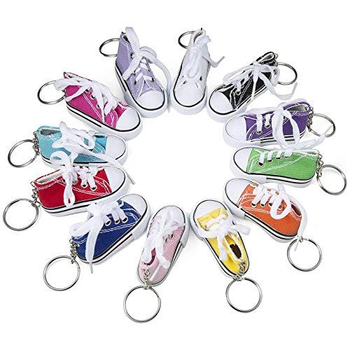 Comius Portachiavi Scarpa Sneaker in Canvas Mini, Generic Scarpa di Tela Moda Ciondolo Portachiavi, Borsa Zaini Accessorio, Portachiavi per Rgalo Souvenir Donna Ragazza - Confezione da 12