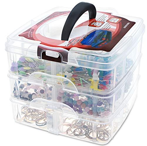 Craft Organizer Box - 3-Layer Stackable Craft Storage Organizer Case, Plastic Craft Supplies Organizer with Adjustable Compartments for Accessories, Art Supplies, Beauty Supplies, 6 x 6 x 5 Inches