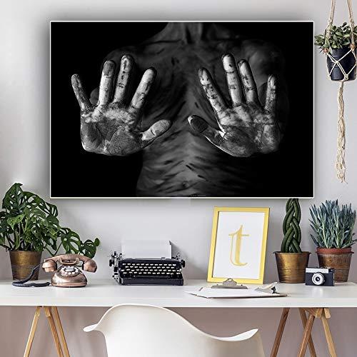 Santangtang zwart-wit handportret-schilderijplakaat en -drukwerk canvas-Scandinavische woonkamerwandschildering-beroemdheids-beroemde schilderij zonder lijst