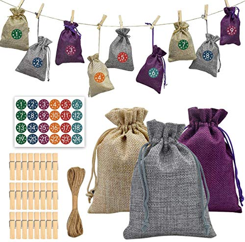HQdeal 24 DIY Christmas Advent Calendar Bags, Small Burlap Gift Bags with Drawstring,Reusable Jute Candy Bags Pouch with 1-24 Number Sticker for Holiday Countdown Christmas Party Decor Wedding Favour