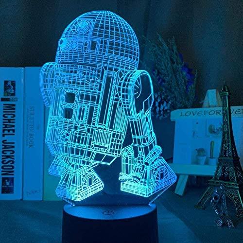 Tatapai 3D Led Night Light R2 D2 Robot Night Light for Kids Bedroom Decoration Light Star Wars Robot R2D2 Table Lamp 3D Illusion-7 Colors No Remote Control