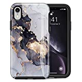 Dutyway Case for iPhone Xr Marble Gold Sparkle Glitter Cute Slim Fit Hard PC Shockproof Rugged Bumper Protective Cover Compatible with Apple iPhone Xr 6.1 Inch (Black Marble)
