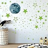 435 Piezas Pegatina Pared Fluorescente, Estrellado Pegatinas, Luminoso Pegatinas de Pared, Luna y Estrellas Puntos, para la Decoración de la Sala de Estar Del Dormitorio de Los Niños