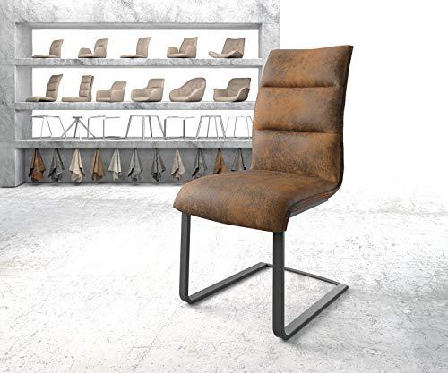 DELIFE Stuhl Xantus-Flex Freischwinger flach schwarz Vintage Braun