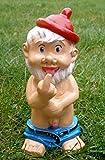 Gartenzwerg Mütze Rot ca. 32 cm Exhibitionist wetterfest, Porno Zwerg, Nudist FKK Garten-Zwerg stehend, frecher Zwerg,zeigt Mittelfinger