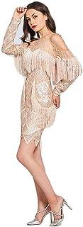 LIFU abito da sposa scollo rotondo abito da cocktail nappa paillettes maniche lunghe mini lunghezza abito donna partito fo...