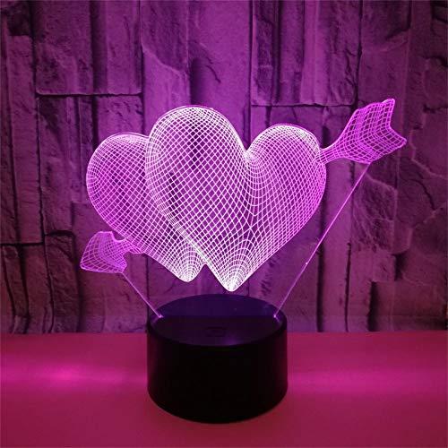 Lámpara 3D LED RGB, ilusión óptica, luz nocturna con interruptor táctil, lámpara de ilusión creativa, 7 colores, lámpara de gestión, cumpleaños, vacaciones, día de San Valentín, decoración, regalo (A)