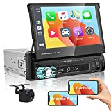Single Din Car Stereo Compatible with Carplay & Android Auto in Dash 7 Inch Retractable Touchscreen Display Car Radio with Bluetooth FM Receiver Phone Link + Backup Camera