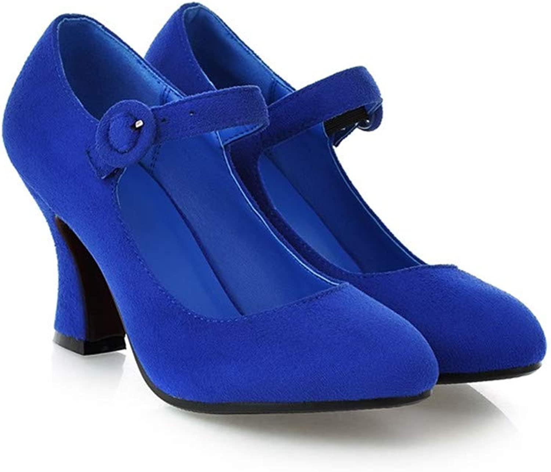 MFairy Women's Buckled Mary Jane shoes Chunky Heel Cushioned Dress Pumps