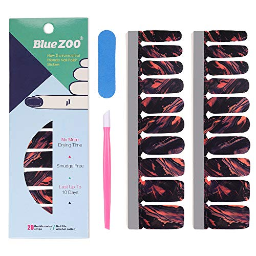 Nail Polish Strips, 20 Fullnail Stylish Strips, Nail Art Wraps Sticker, Self Adhesive Nail Decals, Brighter, Thicker, Tougher Nail Decoration for Women and Girls Includes Cuticle Stick, Nail File