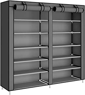 Shoe Rack U-HOOME 7 Tiers Large 36 Shoe Storage Organizer Cabinet Tower with Non-Woven Fabric Cover ,Grey