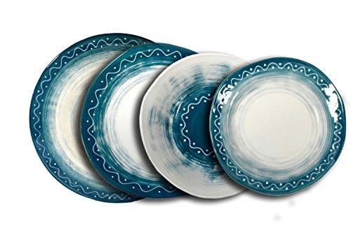 Set da tavola per 4 persone in ceramica dipinta a mano. Collezione Positano