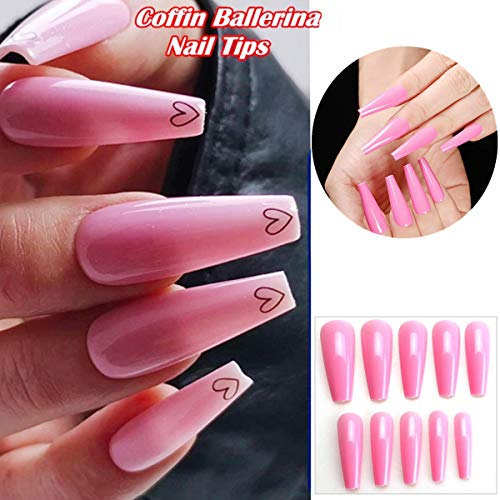 editTime 100pcs Super Long Glossy Fake Nails Coffin Press on Nails Ballerina Solid Color Acrylic False Nails Art Salon Ongles Fingers Nails (pink)