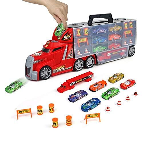PL LKW Autotransporter Spielzeug Auto Transporter Spielzeugauto mit Truck, Tragegriff mit Mini Autos Set Kindergeburtstag Geburtstag Geschenkt Spiele für Mädchen Junge Kinder ab 3 4 5 Jahren