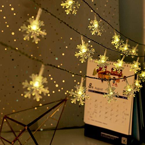 Weihnachten Lichterkette LED Schneeflocke Lichterkette Batterie 6M 40LED Warmweiß Lichterkette mit Fernbedienung 8 Modi Wasserdicht Außen Innen Lichterketten für Zimmer Party Garten DIY Deko Metaku