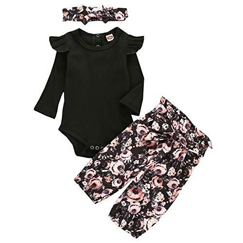Geagodelia 3tlg Babykleidung Set Baby Mädchen Kleidung Outfit Langarm Body Strampler + Blumen Hose + Stirnband Neugeborene Kleinkinder Weiche Babyset T-46105 (Schwarz 714, 0-6 Monate)