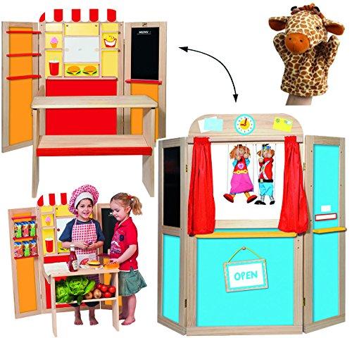 alles-meine.de GmbH 3 in 1 ! Kaufmannsladen + Kreidetafel + Kasperletheater aus Holz - aufklappbar - Kaufladen Theater - für Kinder Mädchen Jungen - Kaufladen