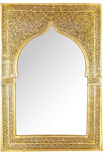 Orient Spiegel Wandspiegel Malika 54cm Gold Messing | Großer Marokkanischer Flurspiegel Messingrahmen orientalisch verziert | Orientalischer Vintage Badspiegel ohne Beleuchtung | Orientalische Deko