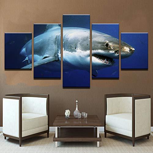 Canvas HD Impreso Wall Art Modular Poster 5 Paneles White Shark ...