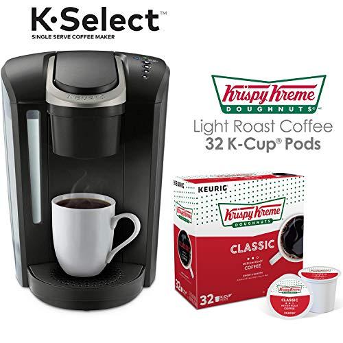Keurig K-Select Single Serve K-Cup Pod Coffee Maker, Matte Black with 32 Krispy Kreme Light Roast K-Cup Coffee Pods