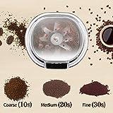 Elektrische Kaffeemühle, morpilot Edelstahl Coffee Grinder, Mühle für Kaffeebohnen Gewürz Getreide Nüsse, mit Reinigungsbürste, Edelstahlmesser(150W, 70g Fassungsvermögen) - 4